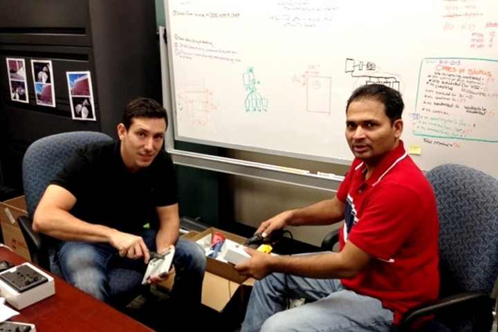 Jose Hasbun and Sunil Terdalkar working on devices for SANDS